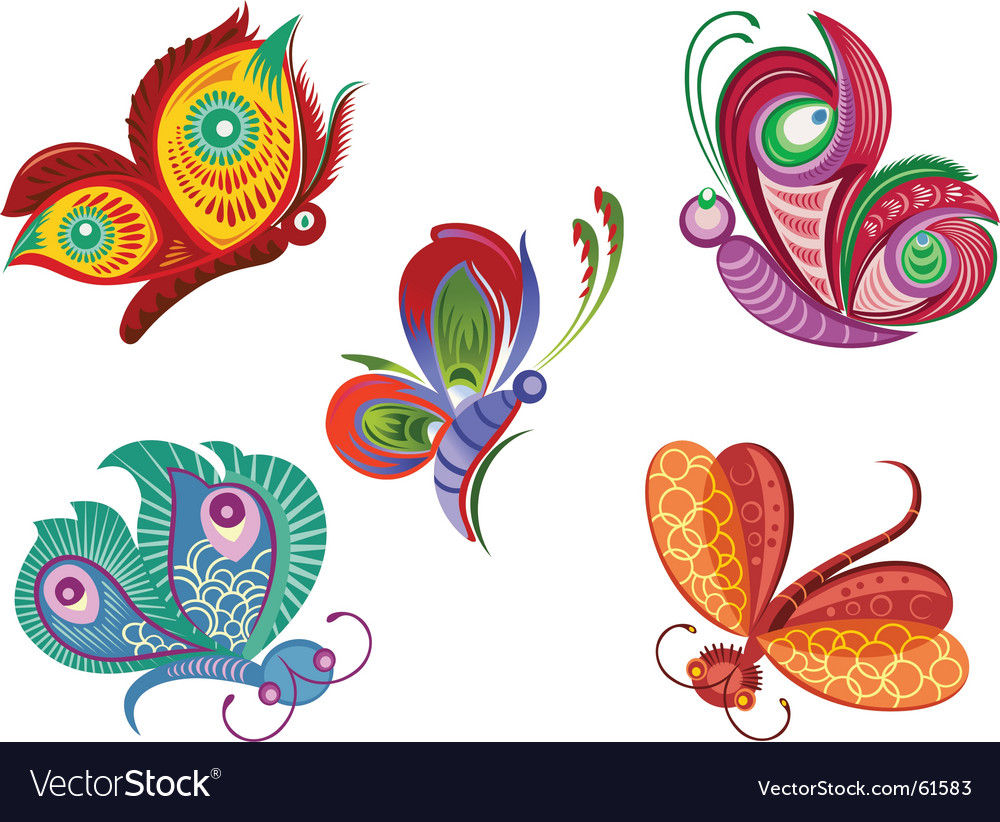 Color butterfly vector image