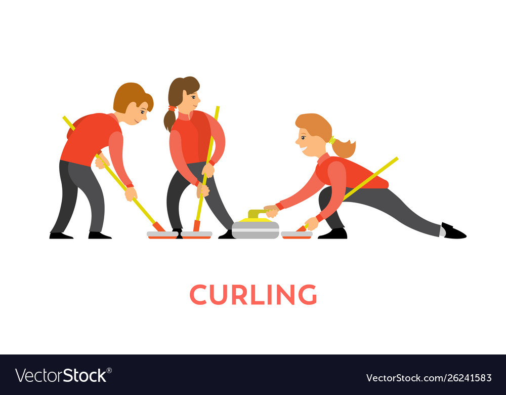 Curling sports game teamwork man and woman
