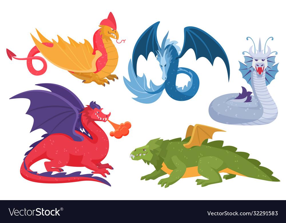 Dragon set cartoon asian