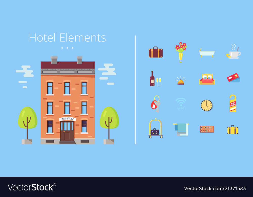 Hotel elements building icons
