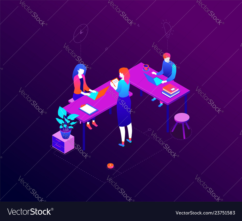 Office life - modern colorful isometric