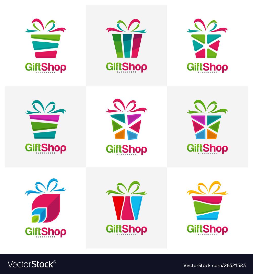 Set Gift Shop Logo Design Concept Template Vector Image