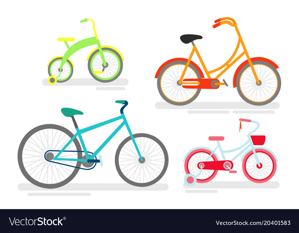 Set of bicycles bike cycling