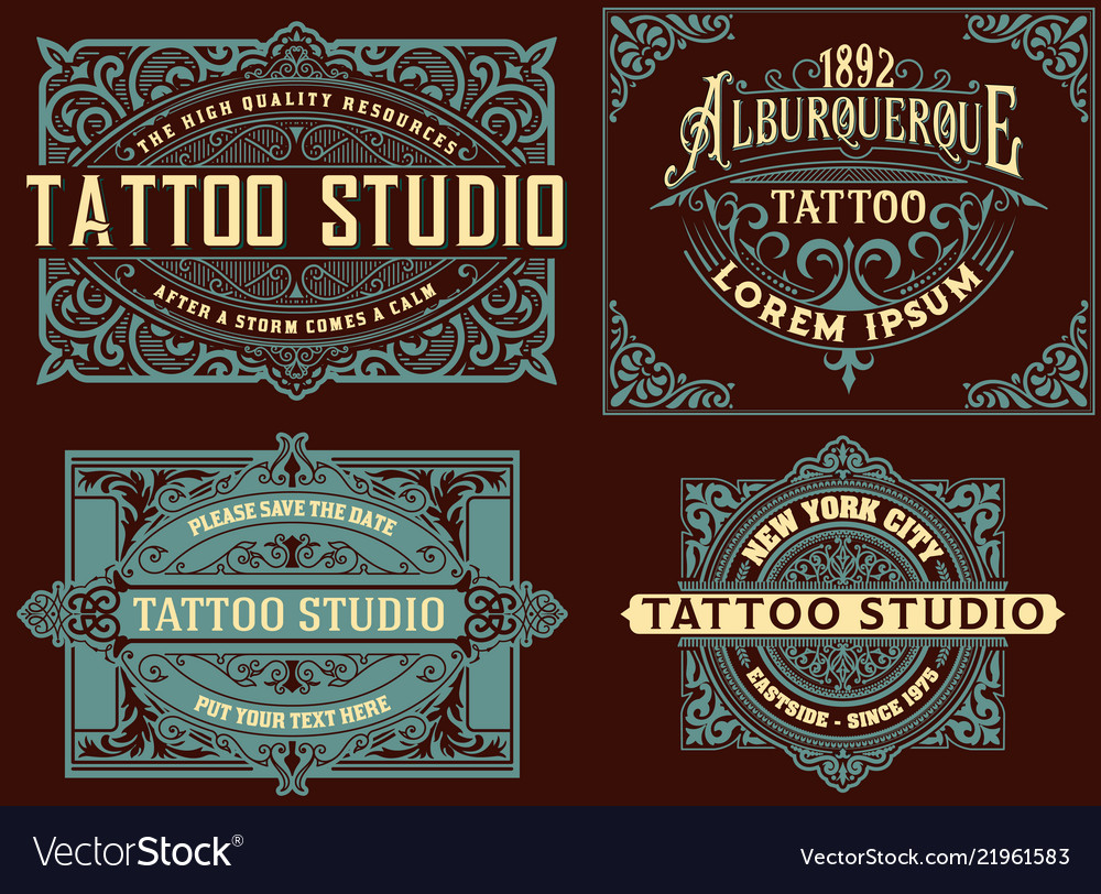 Set of vintage templates with floral elements