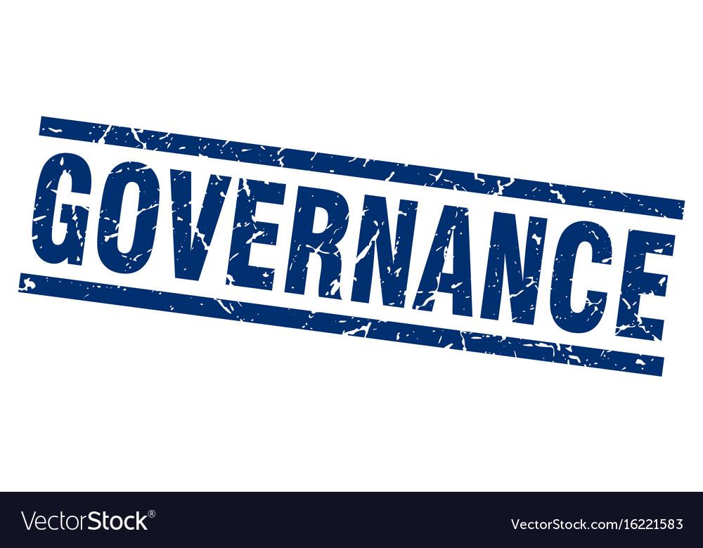 Square grunge blue governance stamp vector image on VectorStock