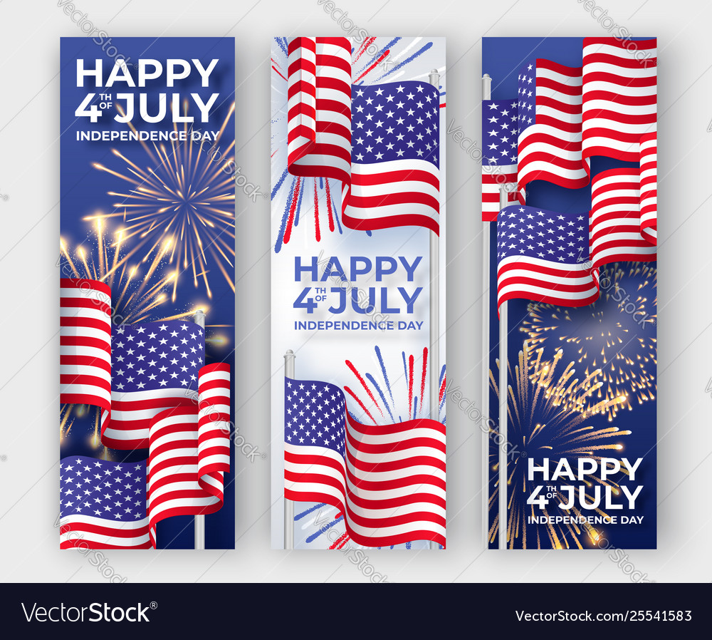 Usa independence day three vertical banners with