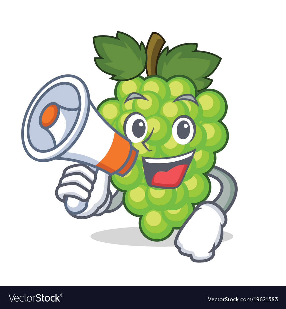 With megaphone green grapes character cartoon