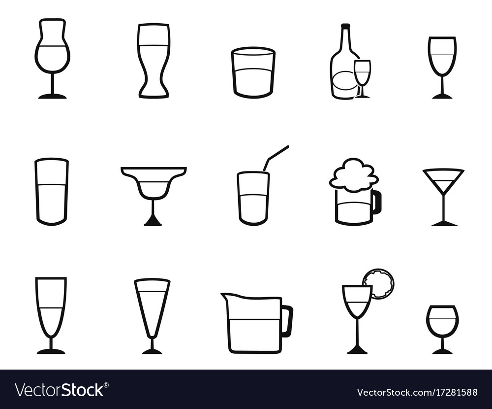 Alcohol cup linear icons set