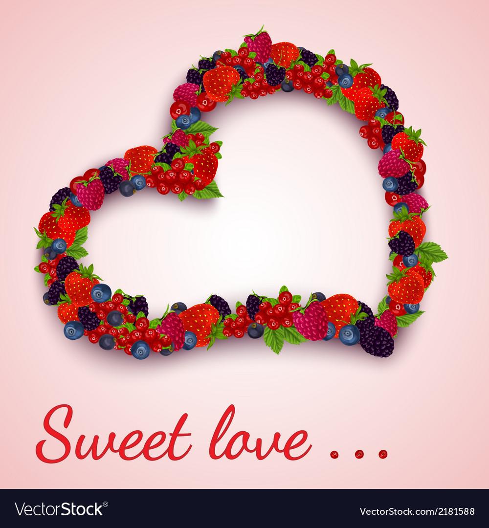 Berries heart emblem vector image