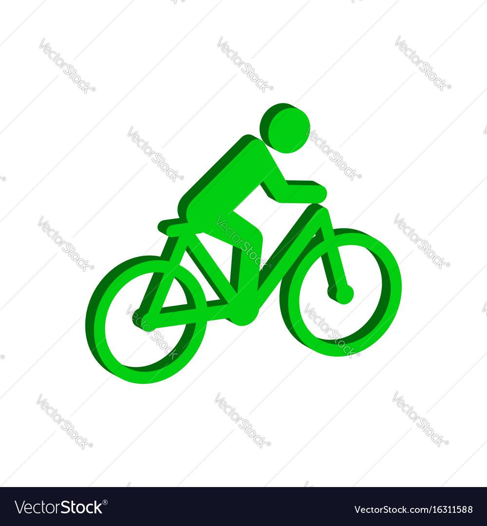 Cyclist symbol flat isometric icon or logo 3d