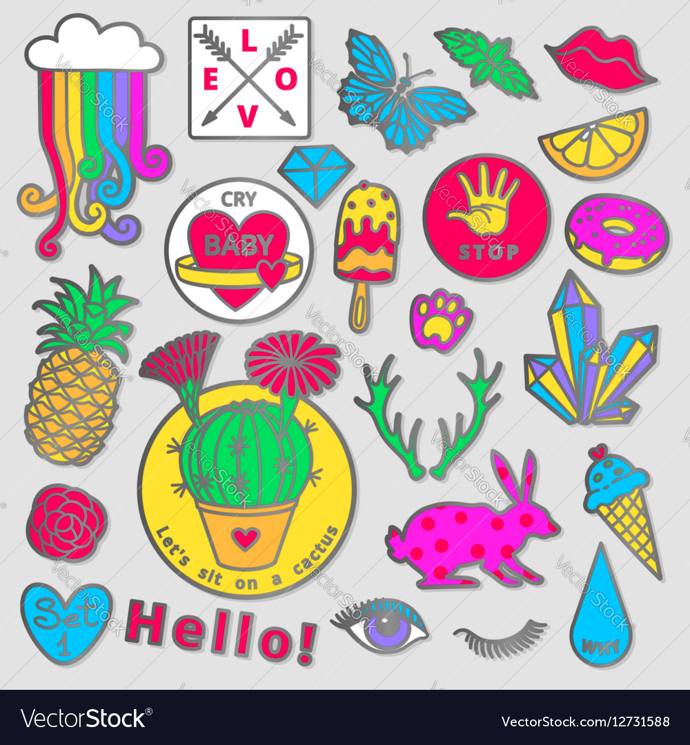Fashion Badge Elements In Cartoon 80s 90s Comic Vector Image