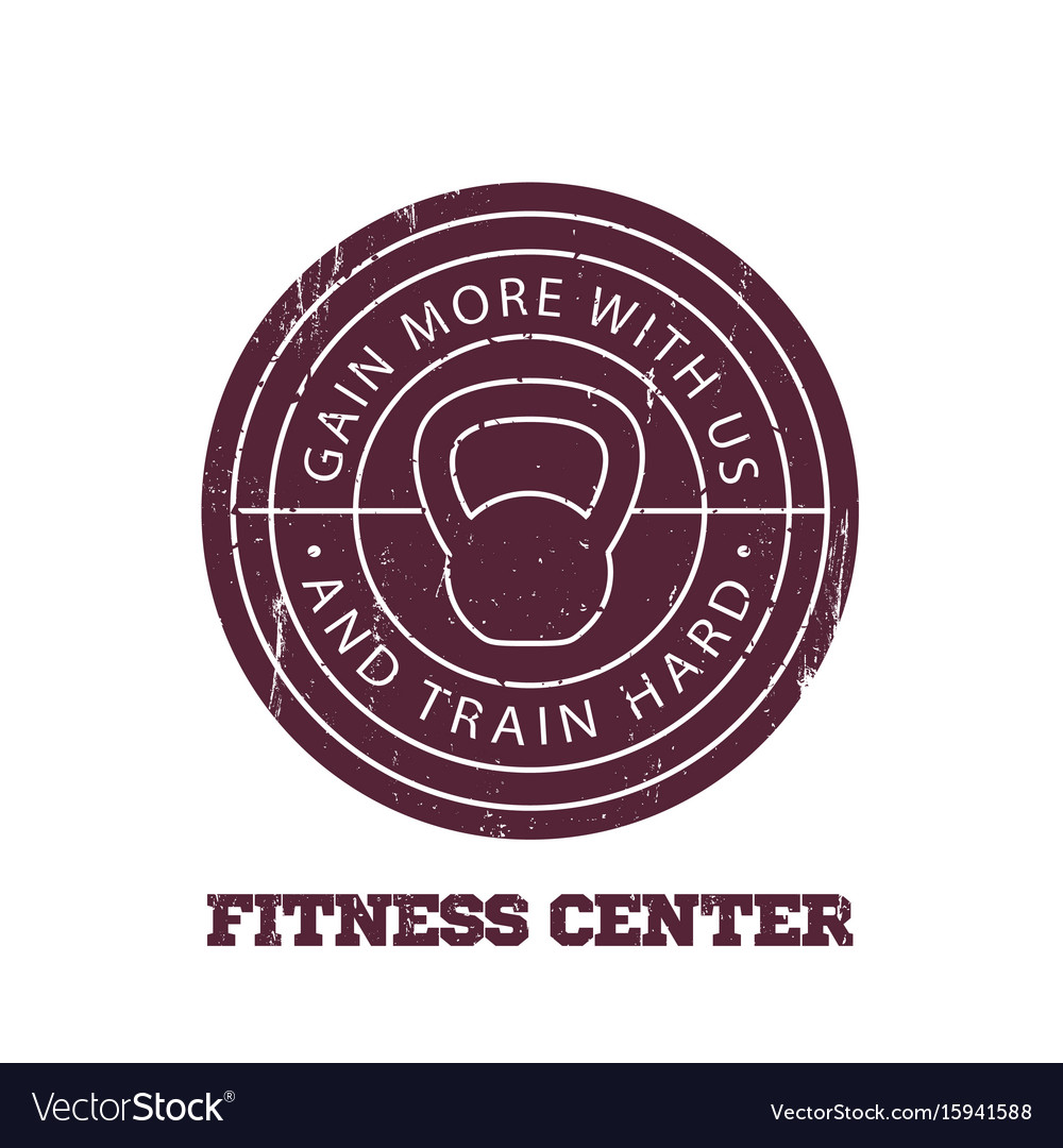 Fitness center round logo badge emblem
