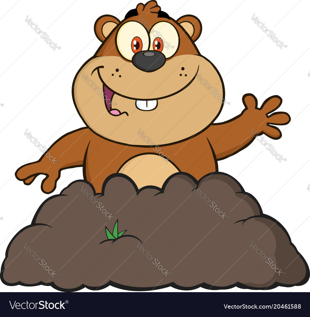 Happy marmot cartoon character waving vector image