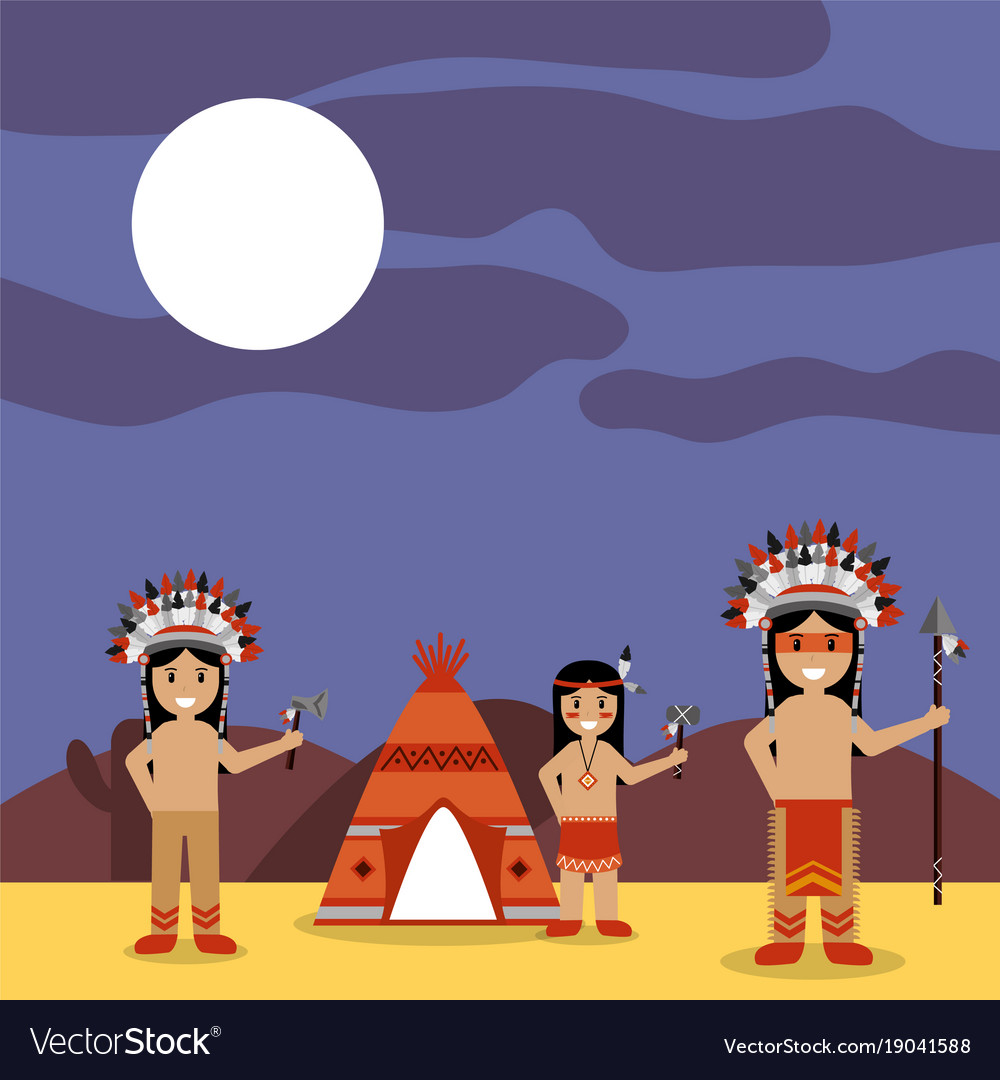 Native american indians with teepee and night vector image
