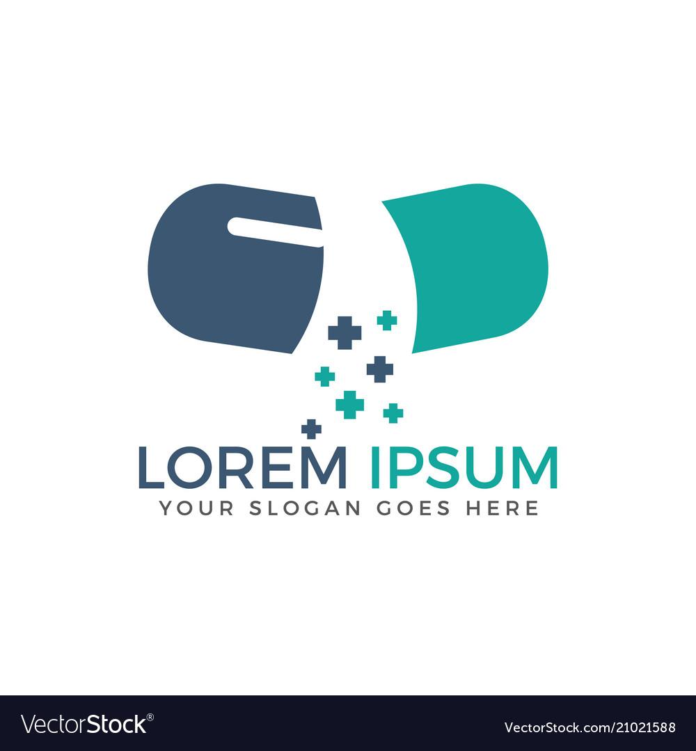 Open capsule pharmacy medical logo