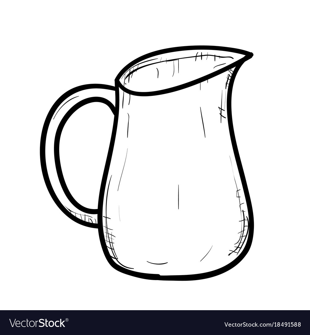 Line Drawing Jug : Sketch of doodle jug royalty free vector image