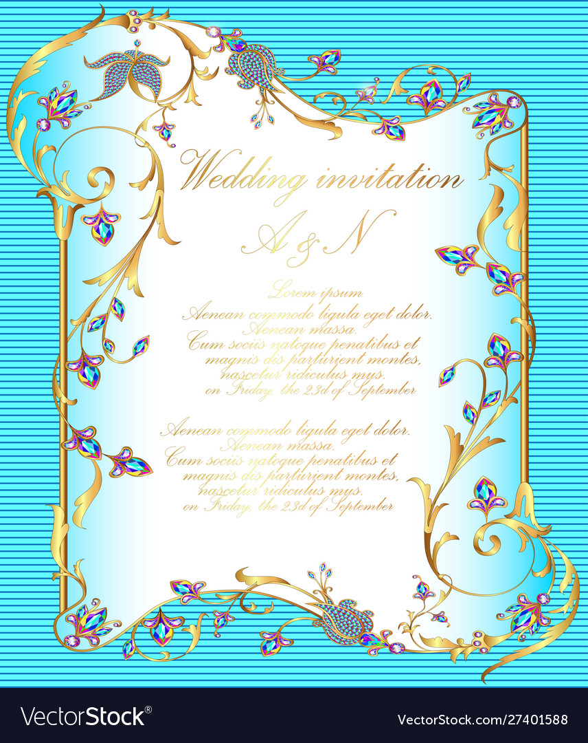 Wedding invitation with gold ornaments and