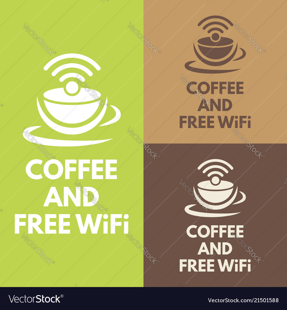 Wifi zone sign with coffee cup