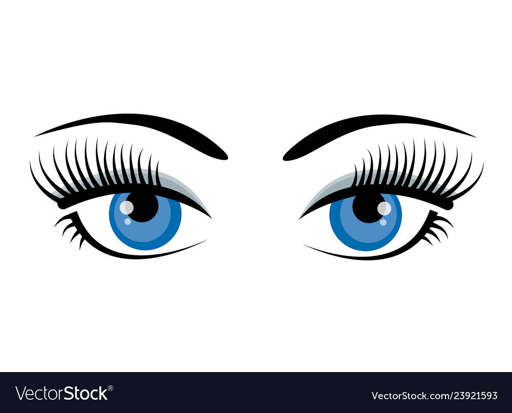 Beautiful ice blue female eyes with eyelashes