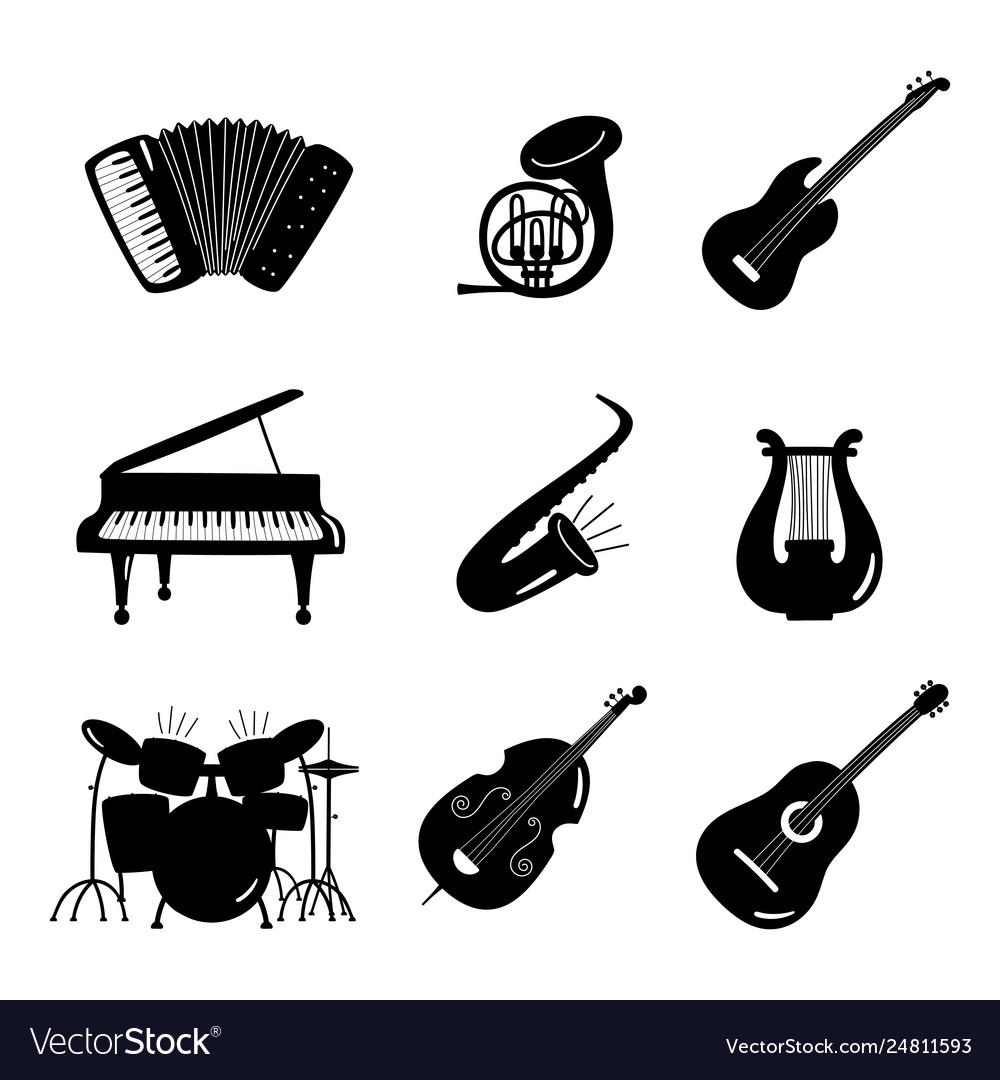 Black and white music instruments icons