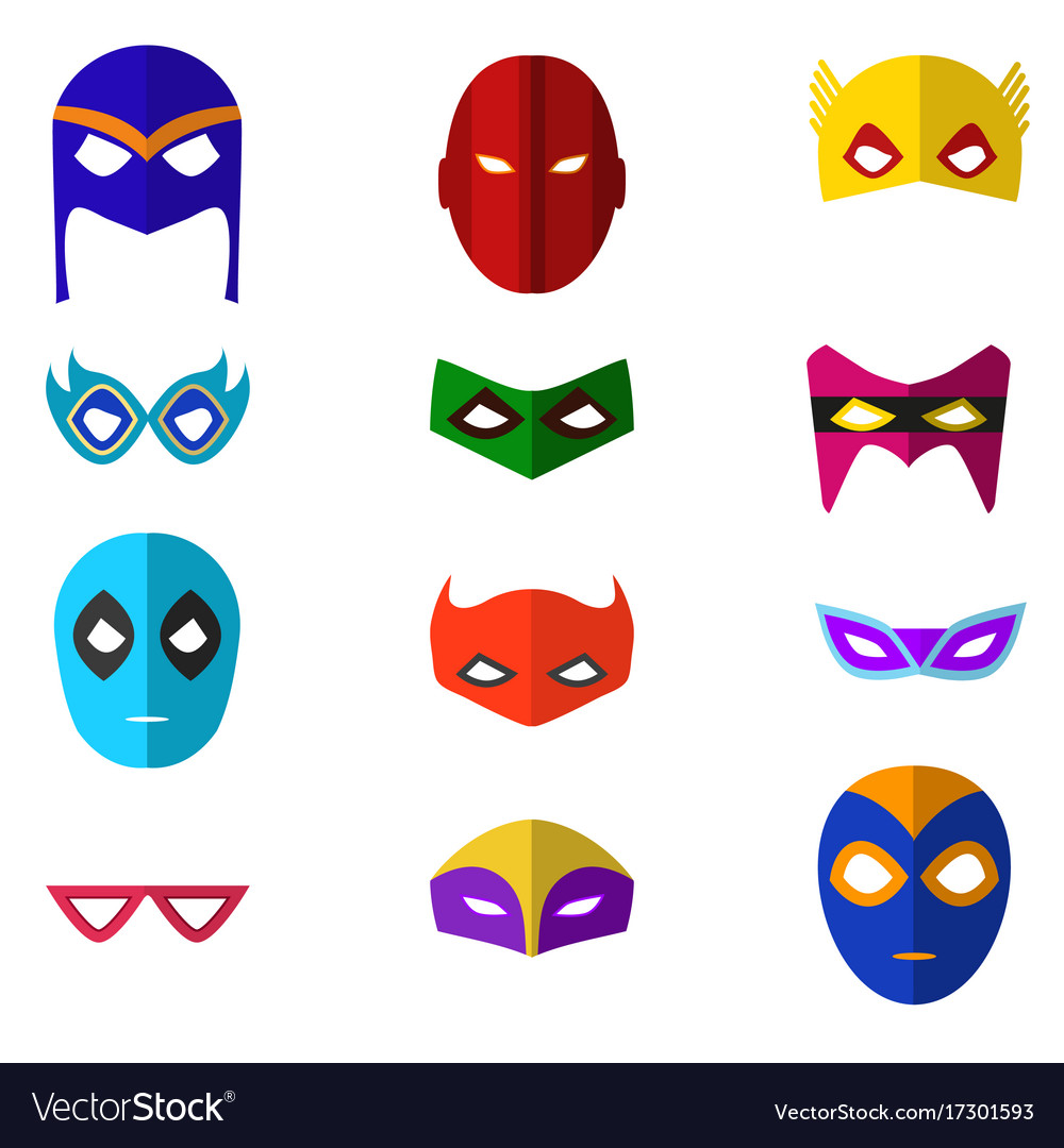 Cartoon superhero mask color icons set