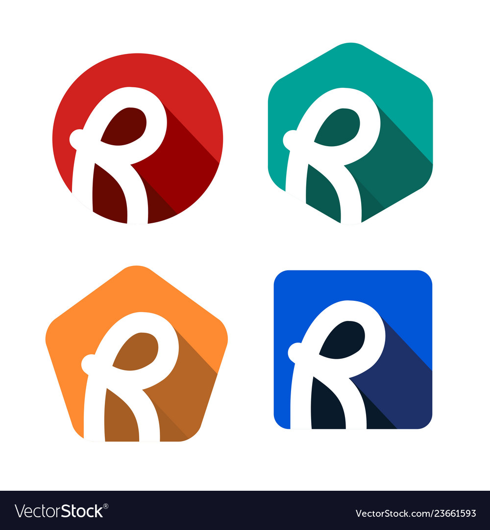 Creative handwritten white letter r inscribed in a