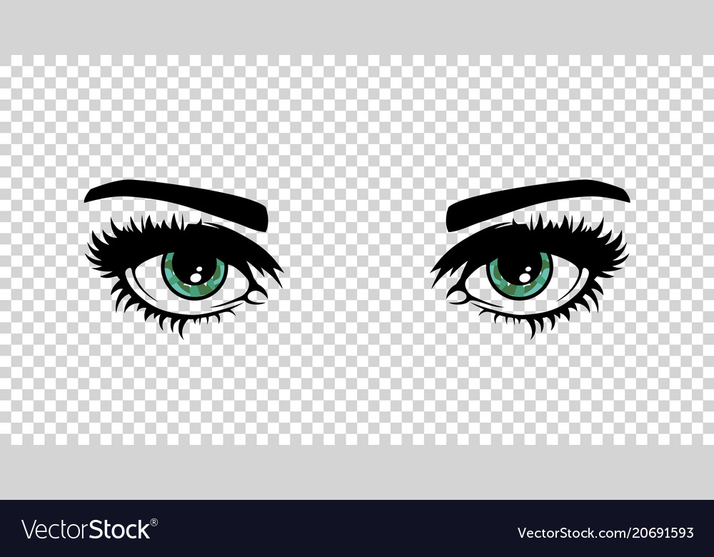 Green female eyes with long lashes and make