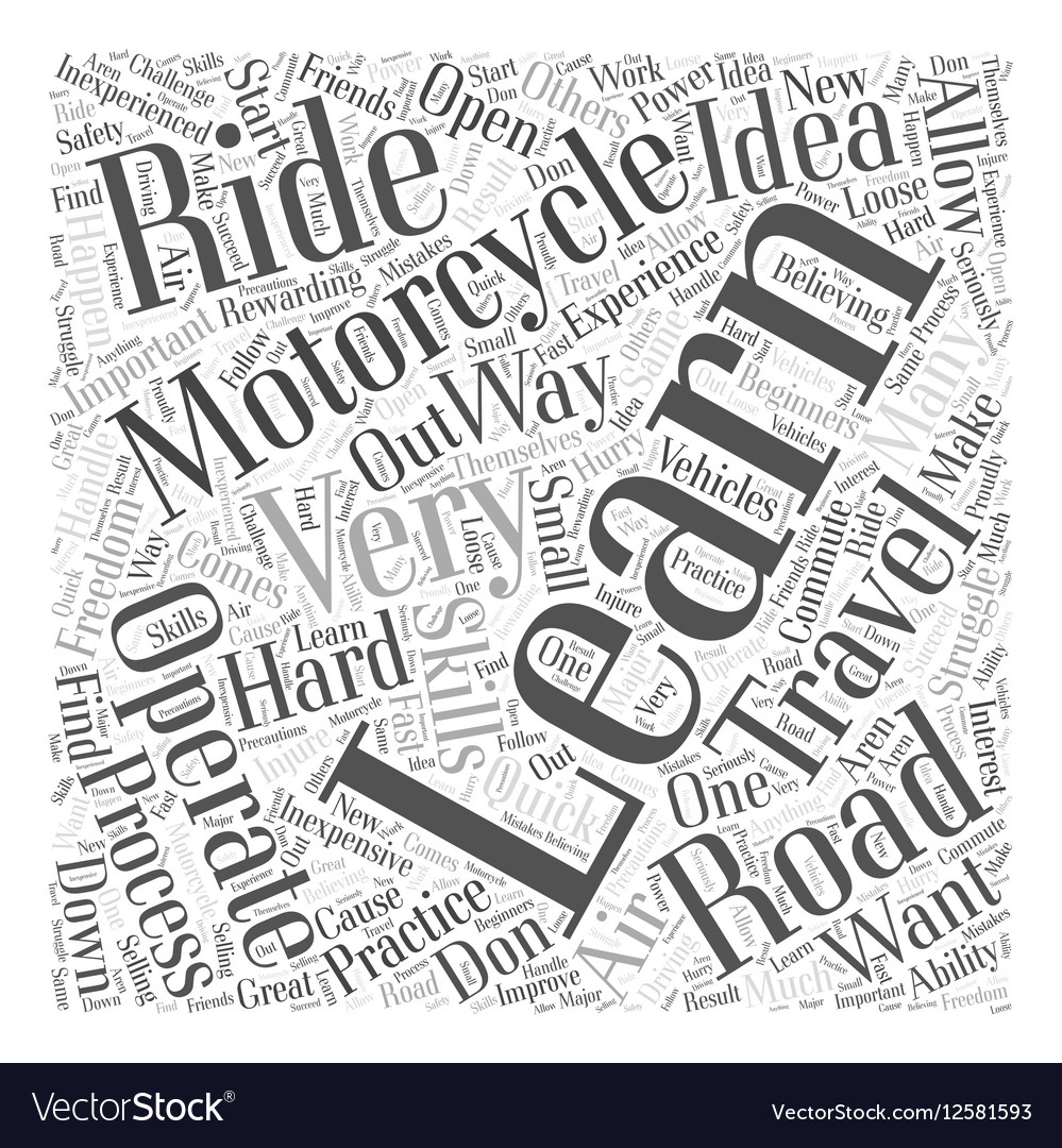 Learning how to Operate a Motorcycle Word Cloud vector image