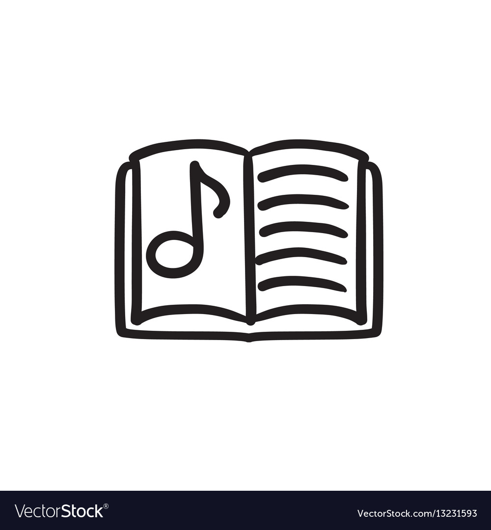Music book sketch icon