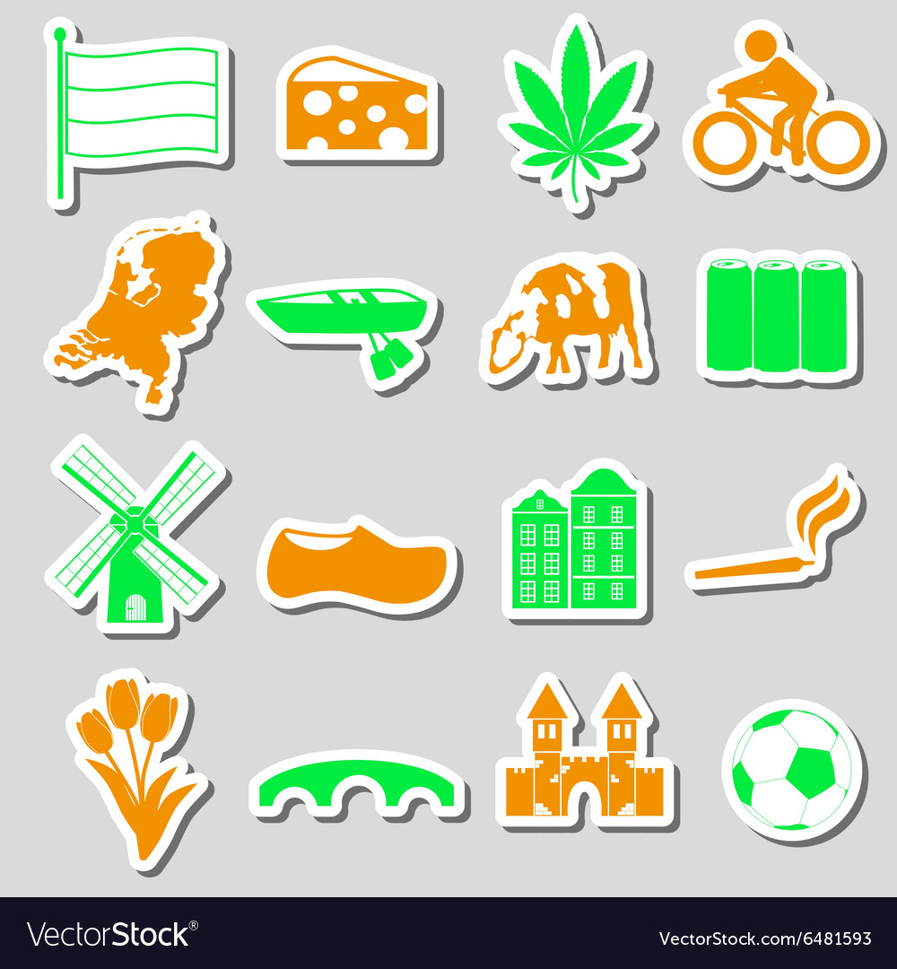 Netherlands country theme color stickers set eps10