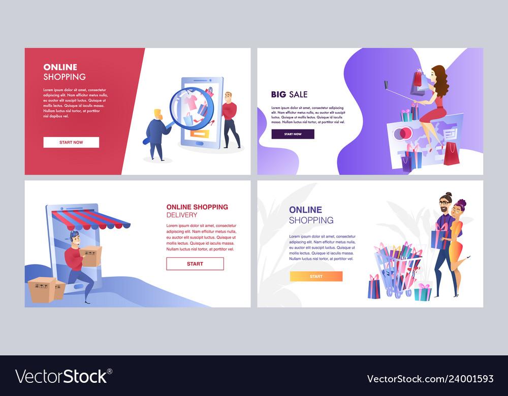 Online marketing set of color templates