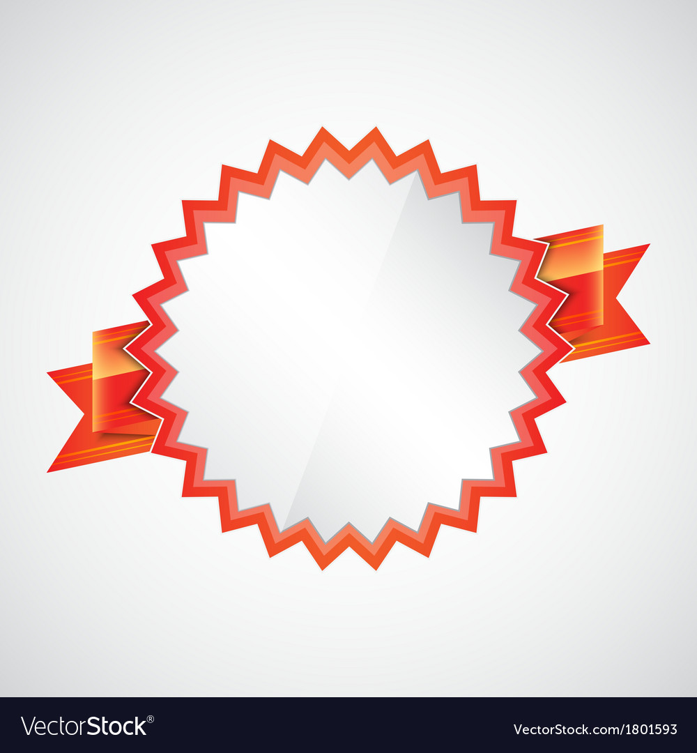 Red badge with ribbon vector image