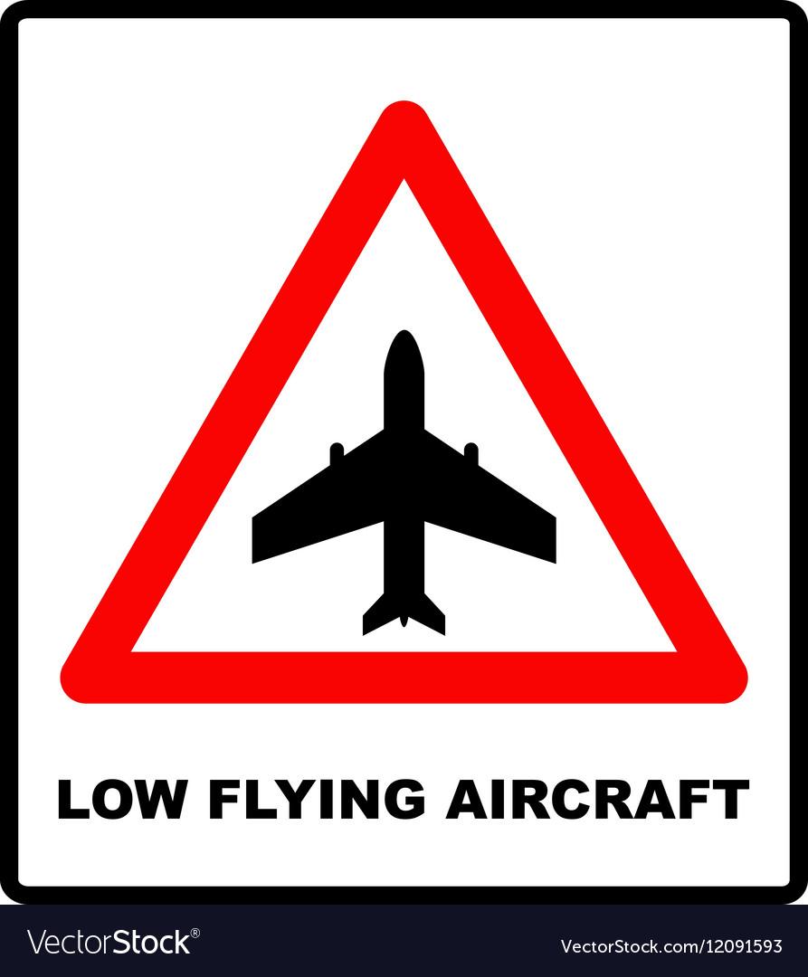 Warning signs of low-flying aircraft vector image