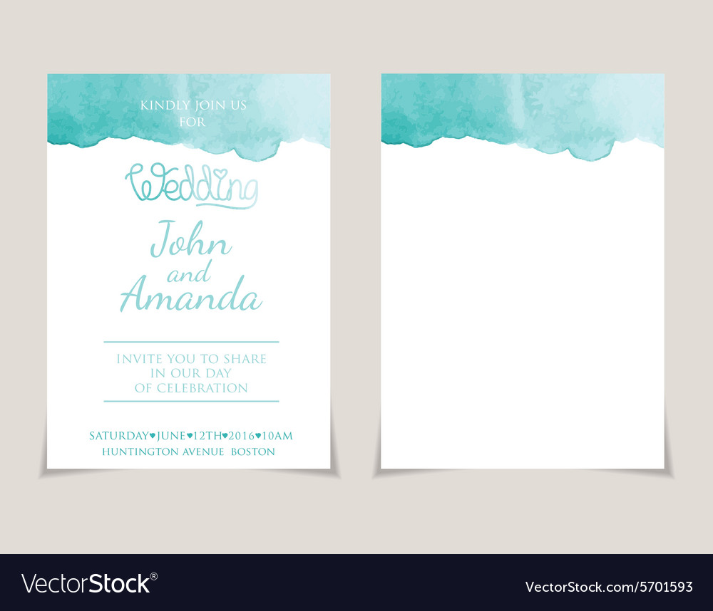 Wedding invitation card templates with watercolor