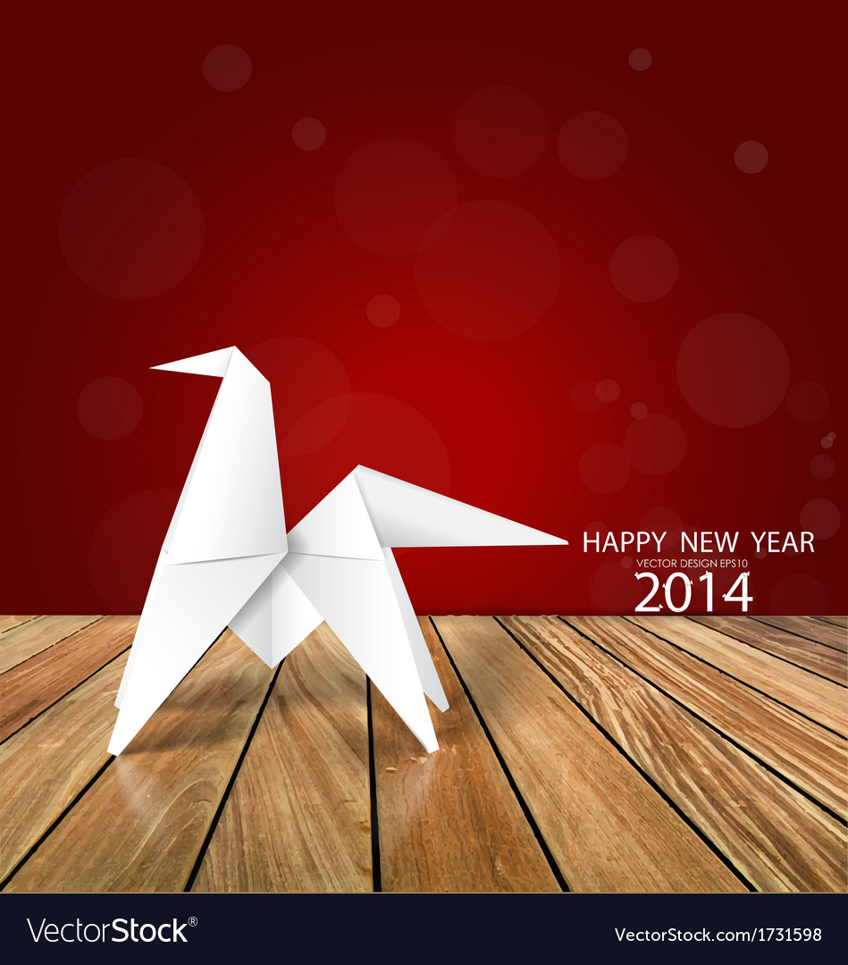 2014 Happy New Year Greeting Card Origami Paper Vector Image