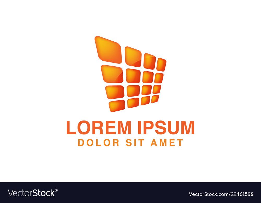 Abstract orange solar panel logo