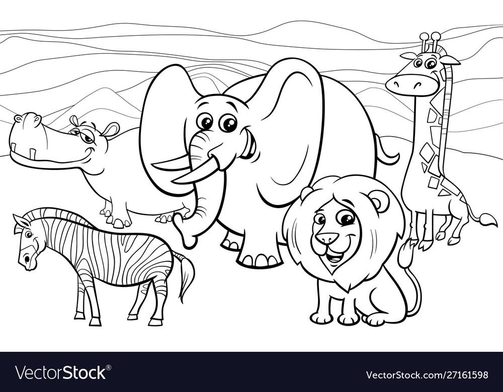 African animals cartoon coloring book
