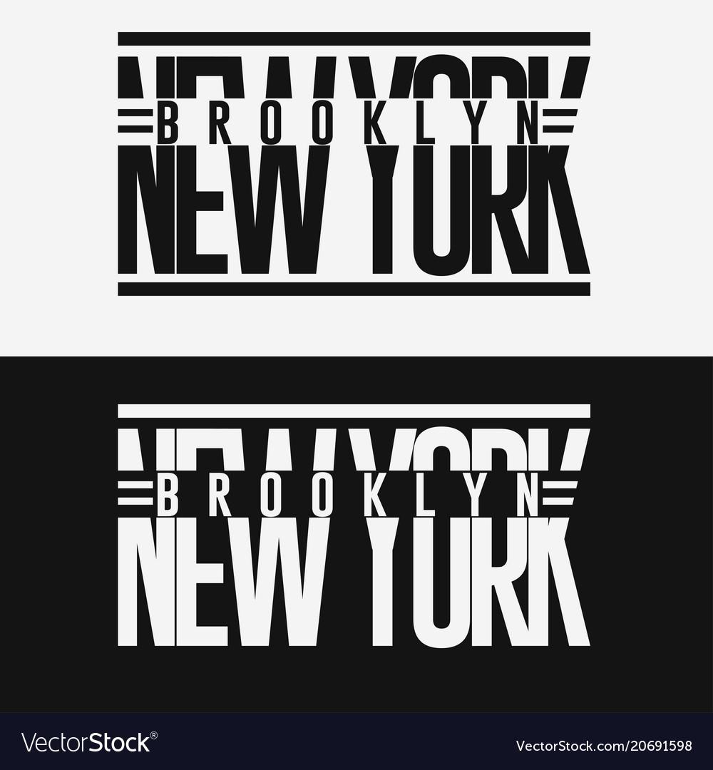 2fe16742 Brooklyn sport wear typography emblem t-shirt Vector Image