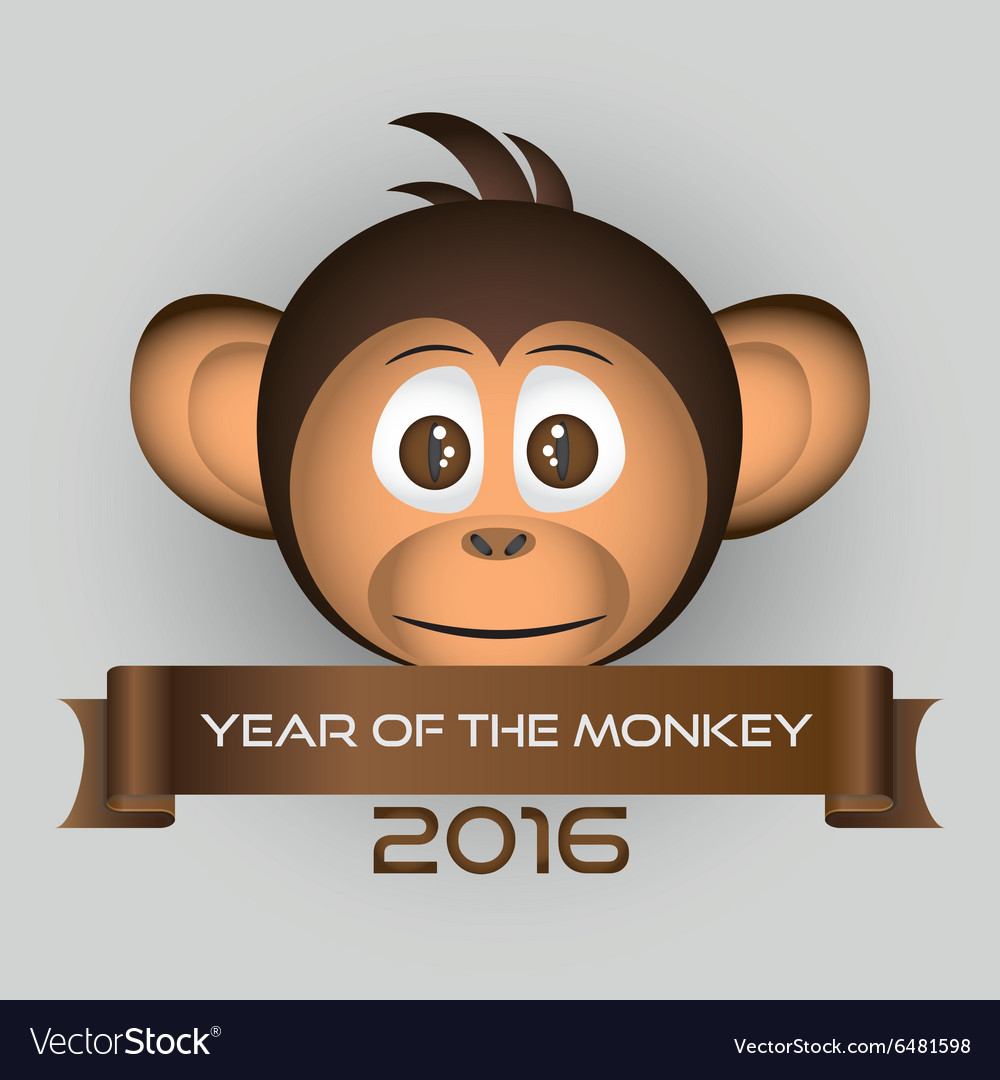 Chimpanzee little monkey head and year of the