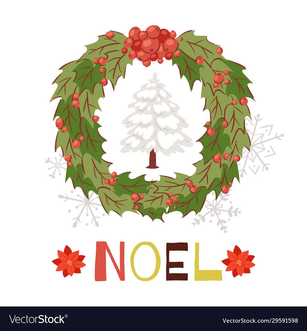 Christmas wreath with snowy fir tree and shining