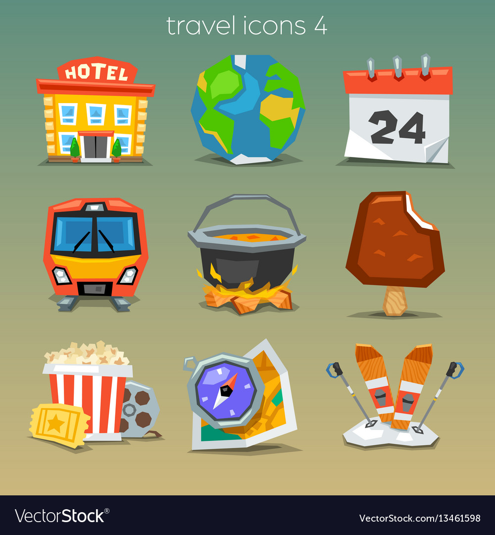 Funny travel icons-set 4