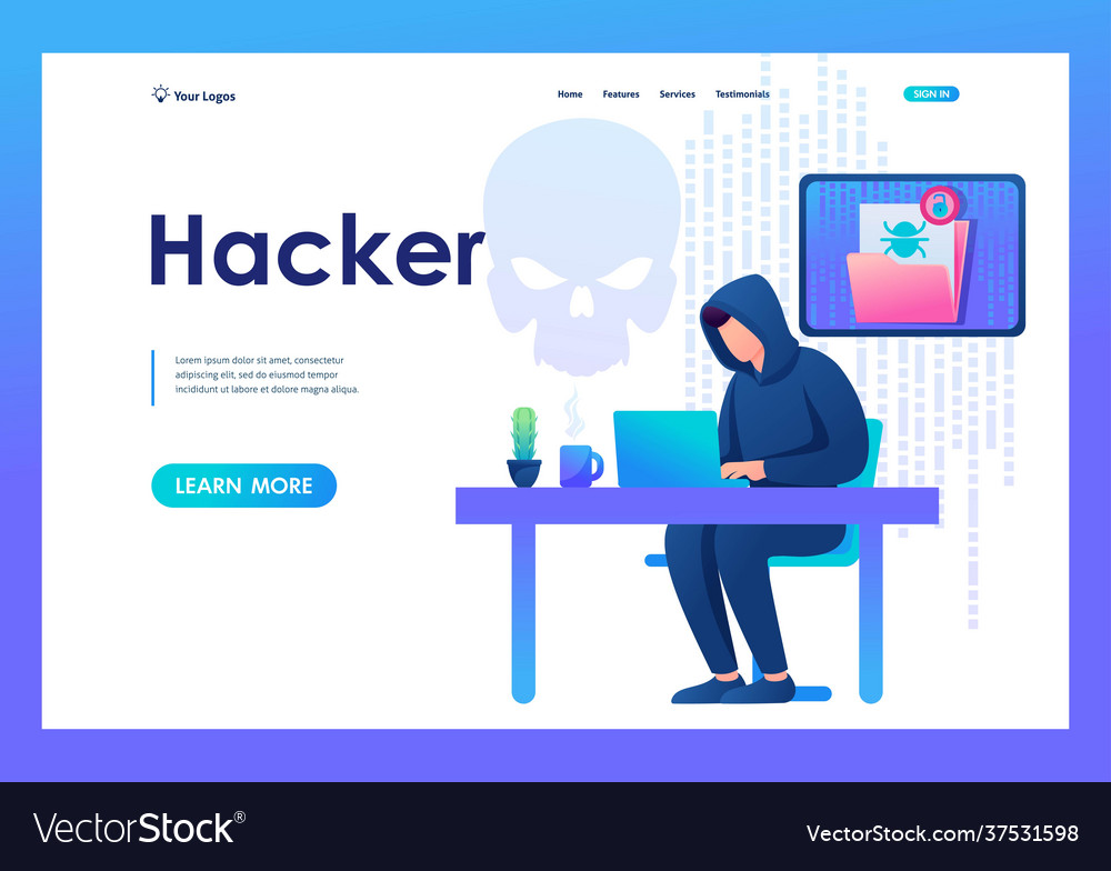 Hacker working on a laptop cyber fraud email