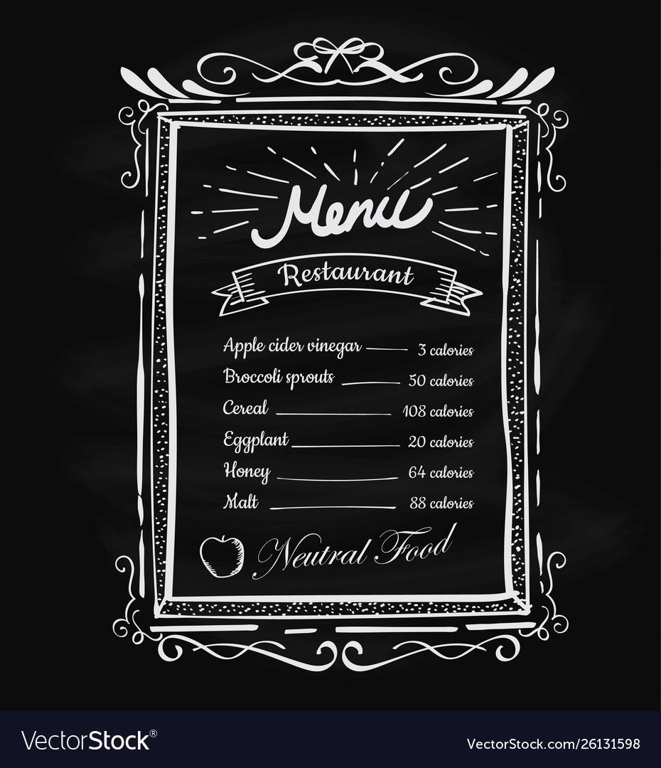 Hand drawn restaurant menu vintage blackboard