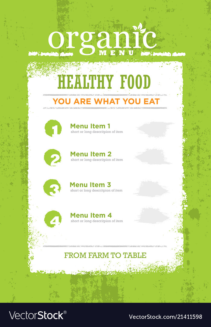 Organic paleo rough food menu concept eco green