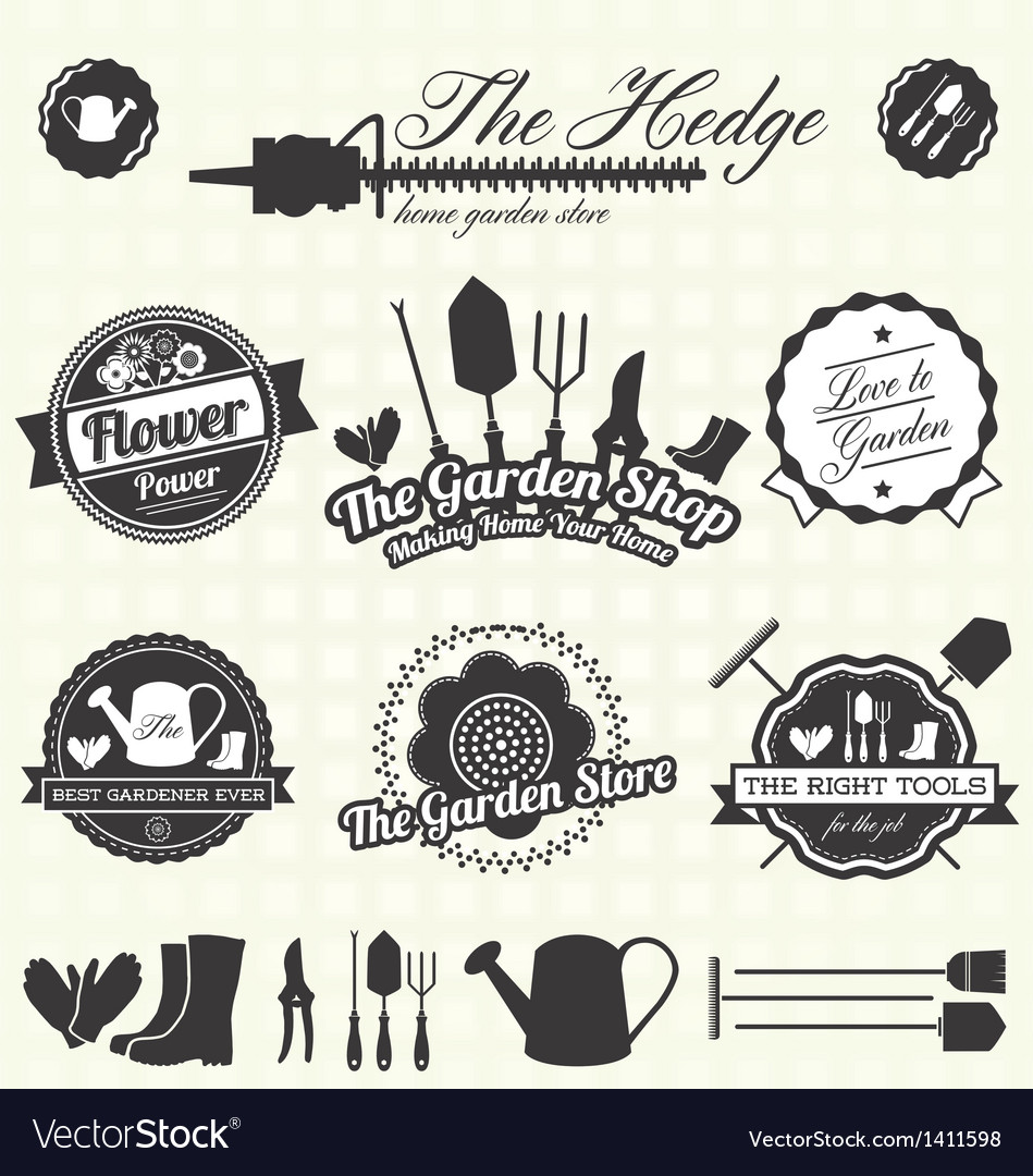 Retro Gardening Labels and Icons