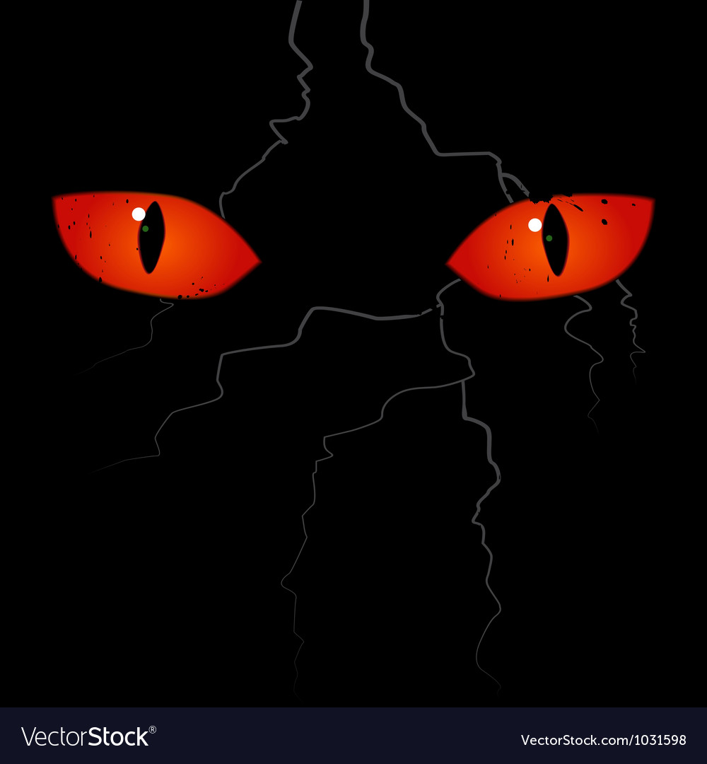 scary eyes on the black background vector 1031598