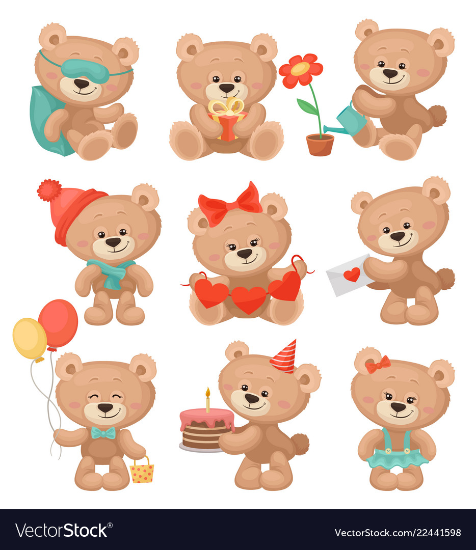 Set of adorable teddy bears in different actions