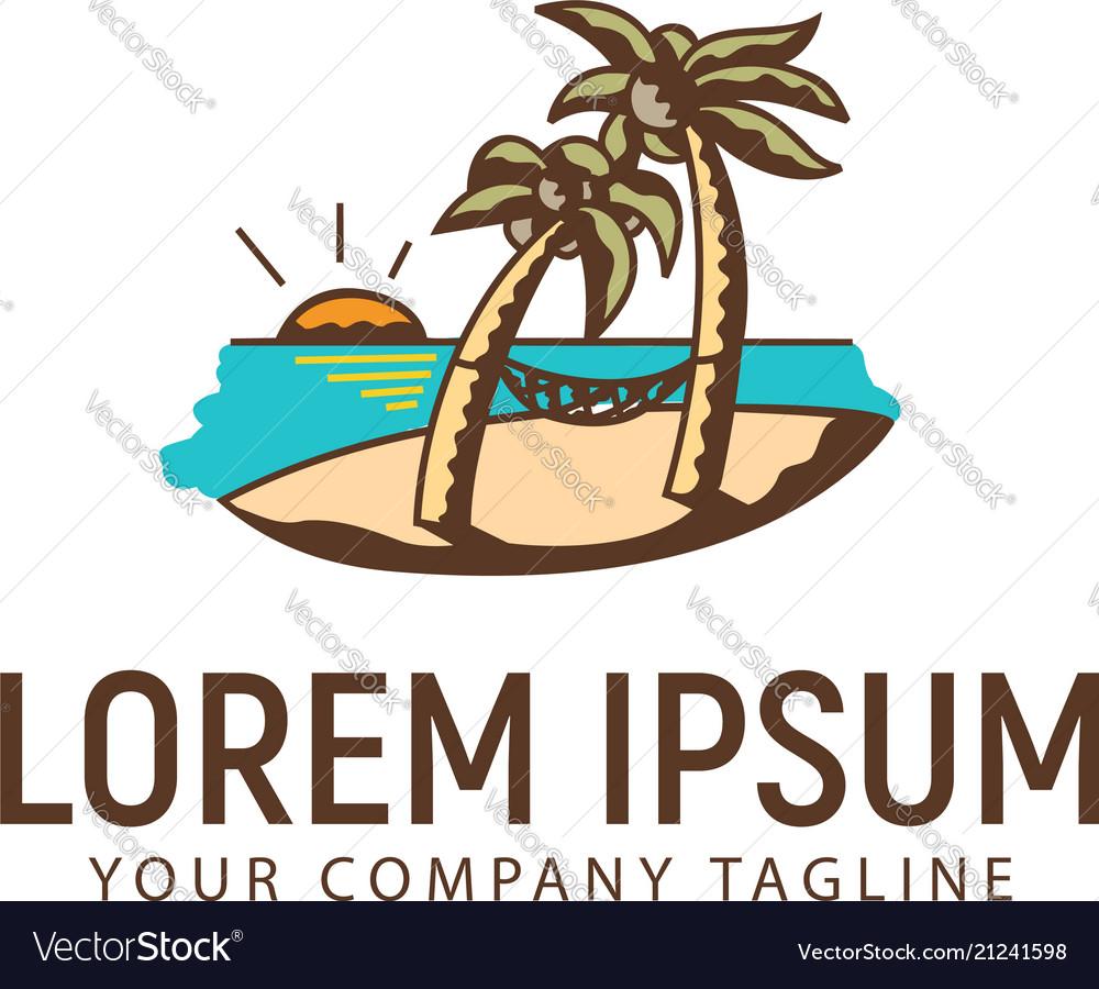 Summer landscape hand drawn logo design concept