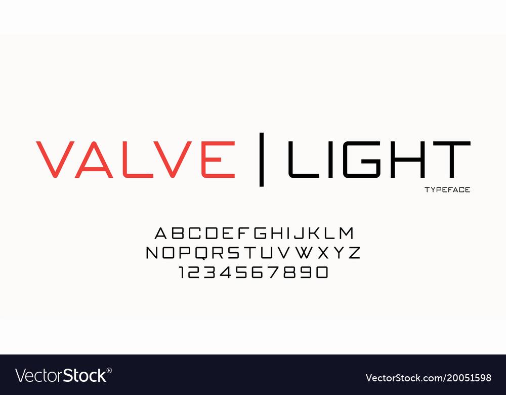 Valve fashion trendy futuristic decorative font vector image