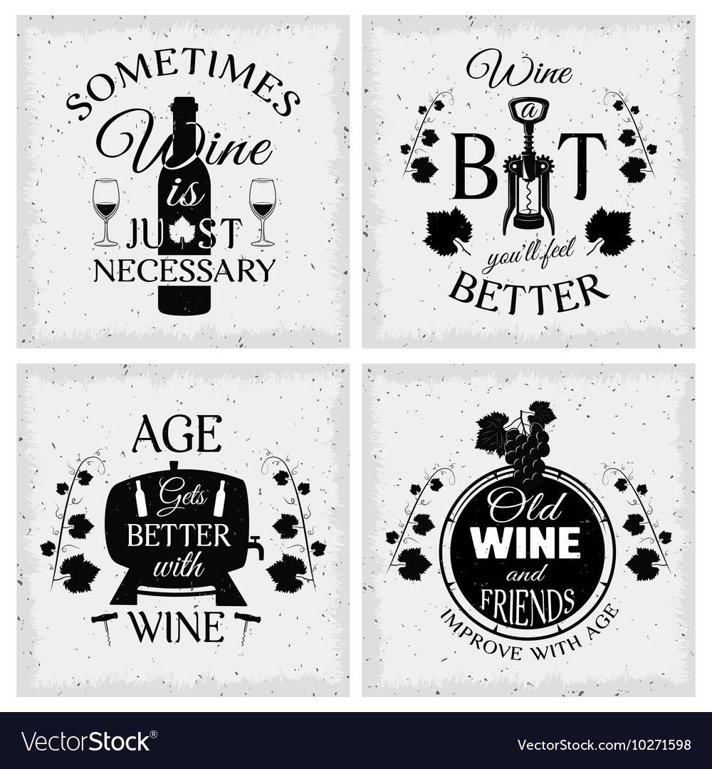Wine Quotes Wine Quotes Typographic Monochrome Emblems Vector Image Wine Quotes